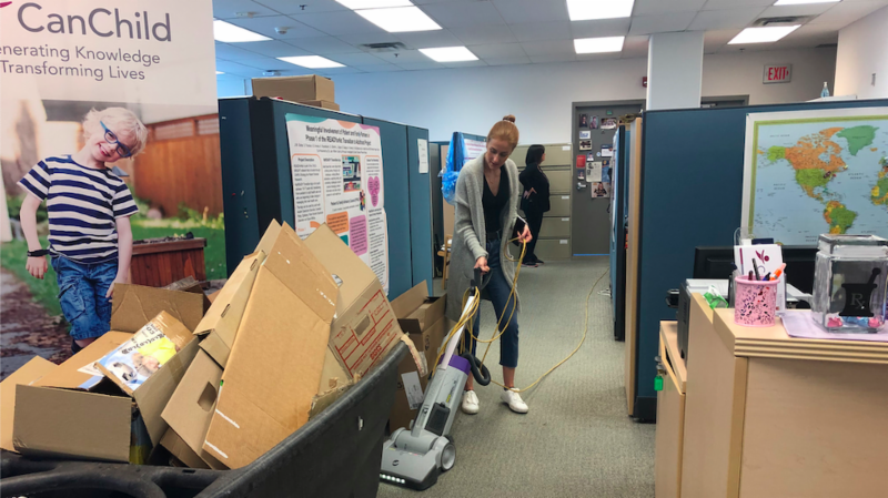 CanChild team cleaning the office for FUNCTION